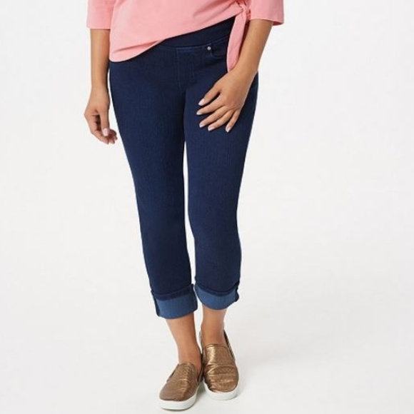 Belle by Kim Gravel Womens Flexibelle Cropped Jeans Pant Dark Indigo Size 14 QVC